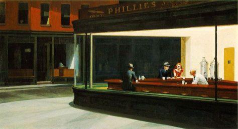 short poetry, new, fresh, cityscape, mood, lighting, Hopper, painting,