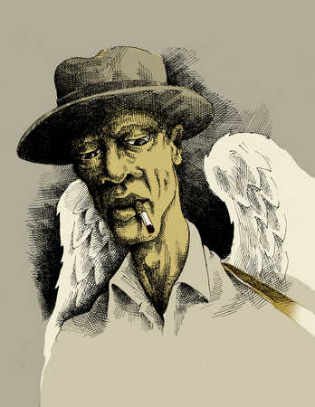 robin-cook-african-american-angel-smoking-cigarette